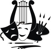 Lyre, palette and masks - symbols of music. arts and theater - isolated black illustration on white background. — Stock Vector