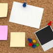 Corkboard with paper sticker — Stock Photo