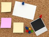Corkboard with paper sticker — Stock Photo