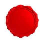 Red wax seal over white background — Stock Photo