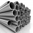Metal tubes over white background - Stock Photo