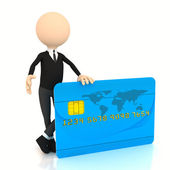 3d businessman with credit card — Stock Photo