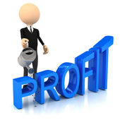 3d person raise profit — Stock Photo