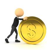 3d-persoon push gouden munt. — Stockfoto