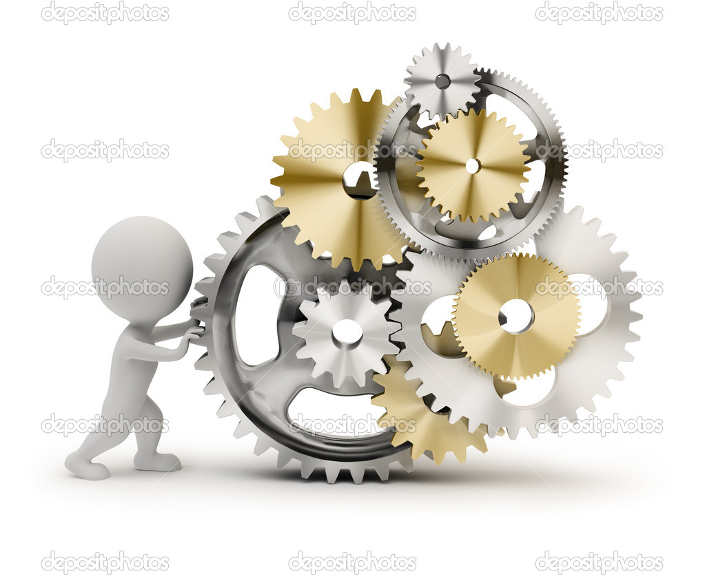 3d small person rotates the mechanism from gears. 3d image. Isolated white background. — Stock Photo #5422509