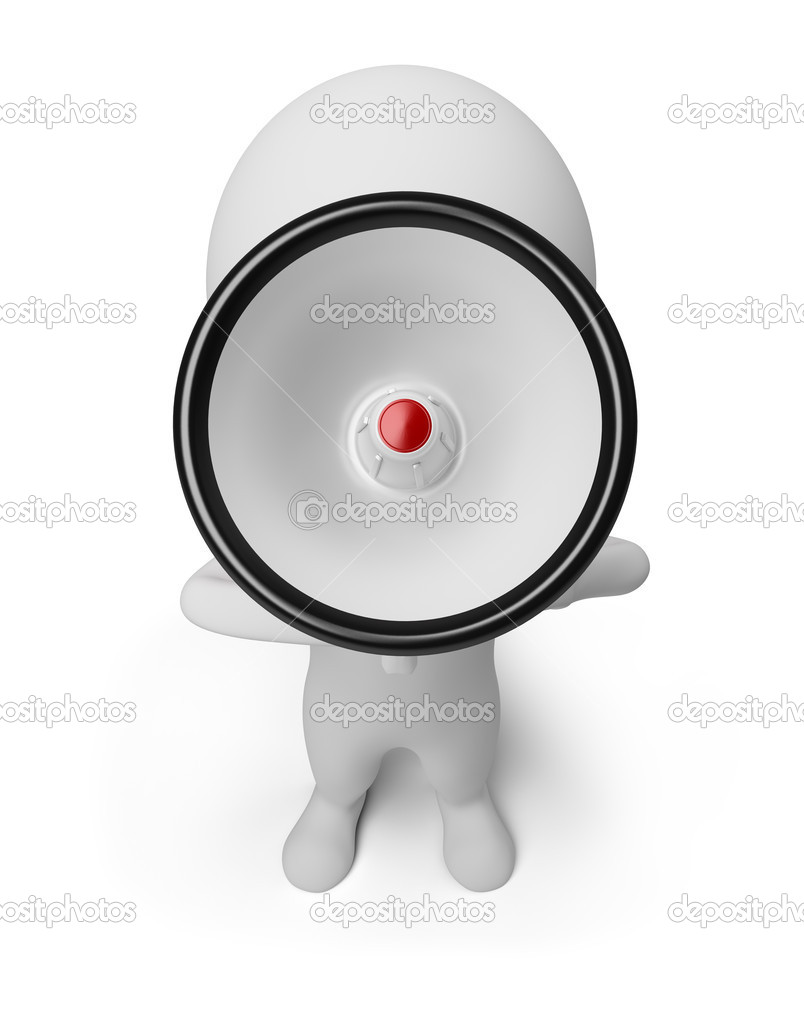 3d small person shouting in a megaphone. 3d image. Isolated white background.  Stock Photo #5472356