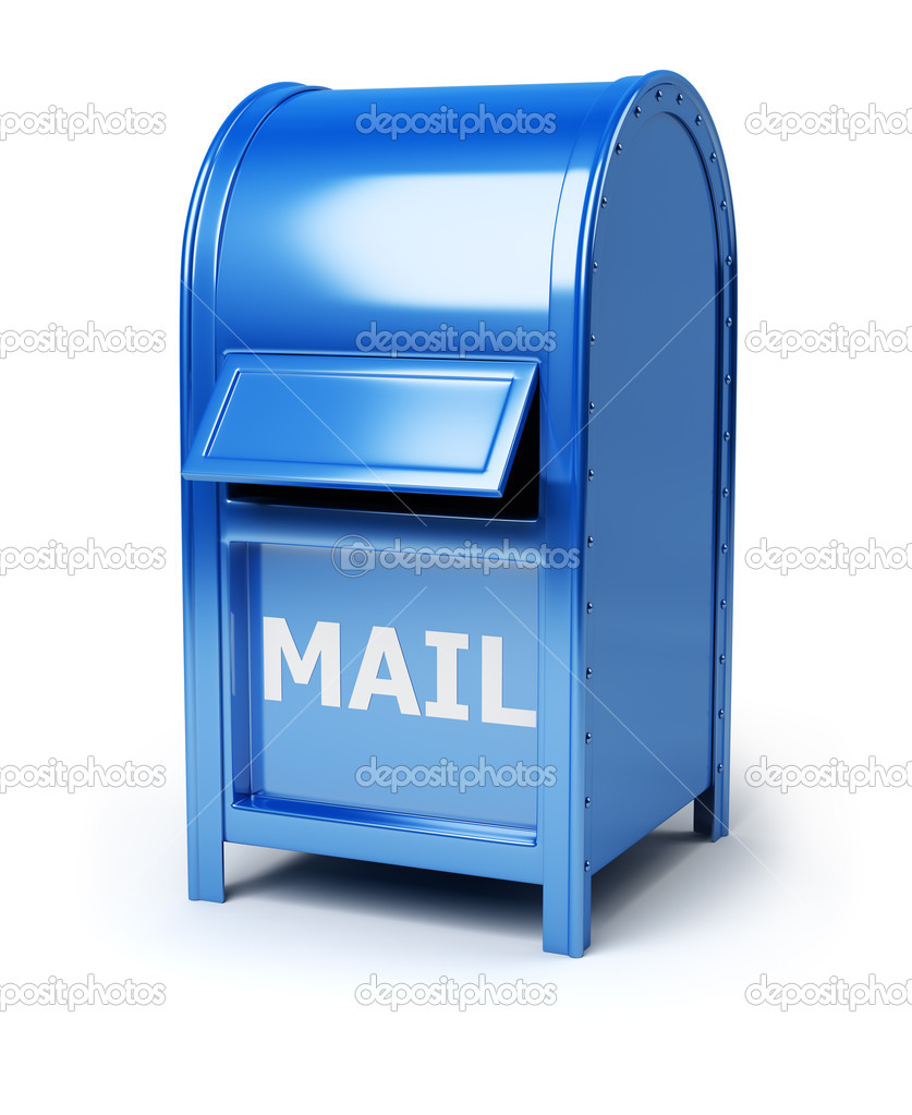 Dark blue brilliant mail box. 3d image. Isolated white background. — Stock Photo #5472363