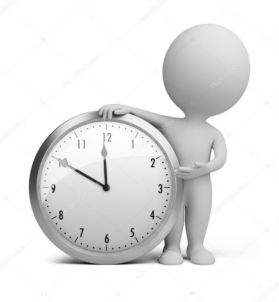 3d small person stands next to the clock. 3d image. Isolated white background. — Stock Photo #6572773