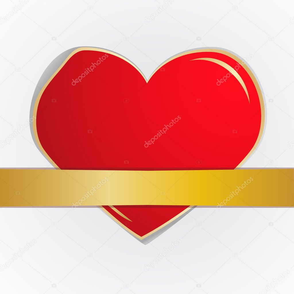The red heart which has been tied up by a gold tape. Vector illustration  Stock Vector #5602738