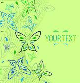 Grön bakgrund med en prydnad från fjärilar och en plats f — Stockvektor