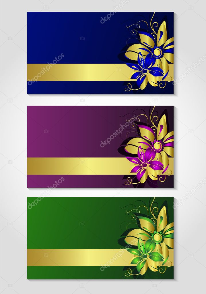 Cards with flower drawing. Vector illustration  Stock Vector #5703892