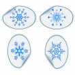 Set of blue stickers with snowflakes. eps10 — ベクター素材ストック