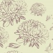 Chrysanthemum seamless background - 图库矢量图片