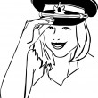 Girl in a military cap black and white — Imagen vectorial