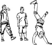 Bboy que baila breakdance blanco y negro — Vector de stock