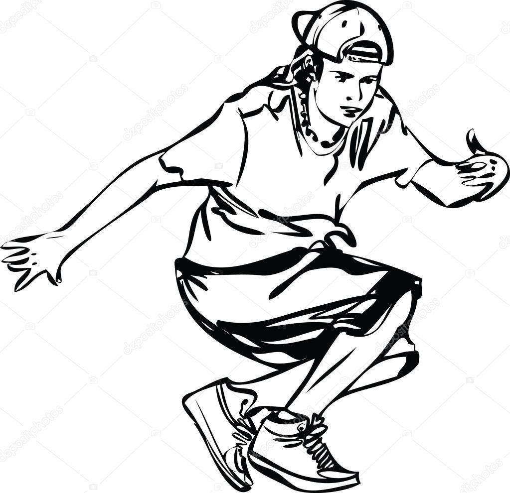 Bboy ragazzo ballare breakdance in bianco e nero ...