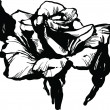 Gorgeous rose bud black and white drawing sketch — Image vectorielle