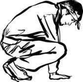 牛仔裤和一件 t 恤的男人 — 图库矢量图片