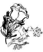 Ramo de flores con una foto blanca y negro color de rosa — Vector de stock