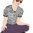 Guy with glasses on the floor — Image vectorielle