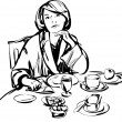 Girl in a bathrobe at breakfast table — Stock Vector