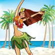 Vector de stock : Hawaii happy girl