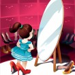 Vector de stock : Little girl in mirror trying on shoes