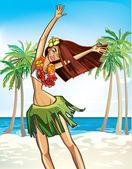 夏威夷快乐的女孩 — 图库矢量图片
