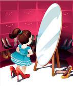 Klein meisje in de spiegel proberen op schoenen — Stockvector