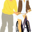 Boy teaches girl to ride a bike - Stock Vector