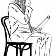 Image bald man is reading on a chair — Image vectorielle