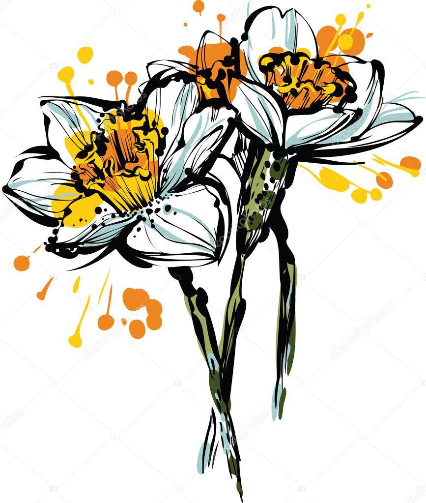 Рисунок набросок цветы