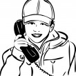 Sketch of a boy wearing a cap with the handset — Stock Vector
