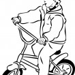 Sketch of a boy riding a bicycle on a small — Stockvektor