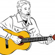 Sketch of a man with a beard playing a guitar — Imagens vectoriais em stock