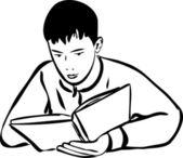 Schizzo ragazzo leggendo un contorno di libro — Vettoriale Stock