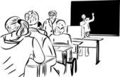 Estudiantes de diseño en la clase y las chicas de la pizarra — Vector de stock