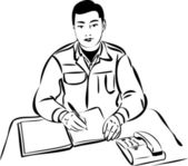Mannen vid bordet skriver i en anteckningsbok — Stockvektor