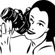 Sketch of a girl with a camera in hand - Stock Vector
