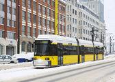 Yellow tram in Berlin — Stock Photo