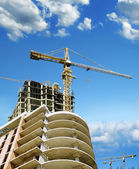 Building , cranes on construction site. — Stock Photo