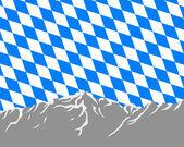 Mountains with flag of Bavaria — Stock Photo