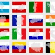 Stock Photo: Set of flags with maps
