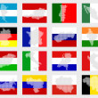 Set of flags with maps — Stock Photo