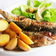 Stock Photo: Grilled portugal sardine fish