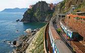 Italy. Cinque Terre. Train at station Manarola — Stock Photo