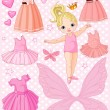 Stock Vector: Baby Girl with different ballet and princess dresses