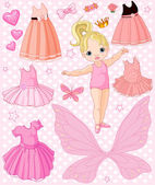 Baby Girl with different ballet and princess dresses — Stock Vector