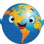 World globe character — Stock Vector