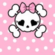 Cute Skull with bow — Vettoriali Stock